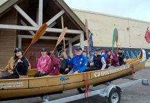 On May 2, 18 paddlers (including The Canadian Canoe Museum's Director of Development James Raffin, in the blue jacket) were given a send-off at The Canadian Canoe Museum before travelling to Kingston for their nine-day journey to Ottawa through the Rideau Waterway in a 36-foot Voyageur Canoe. (Photo: The Canadian Canoe Museum)