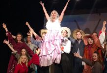"""TAS Musical Theatre's production of Curtains, playing May 31 to June 2, begins with the murder of Jessica Cranshaw (Keeley Wilson), the star of a musical called """"Robbin' Hood"""". (Photo: Sam Tweedle / kawarthaNOW)"""