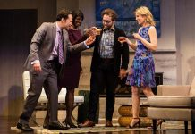 "Raoul Bhaneja, Karen Glave, Michael Rubenfeld, and Birgitte Solem performing in a Toronto production of ""Disgraced"" in April 2016. With the exception of Rubenfeld, whose role will be performed by Alex Poch-Goldin, the remaining actors are reprising their roles in New Stages Theatre Company's staged reading of the play at Peterborough's Market Hall on May 28. (Photo: Cylla von Tiedemann)"