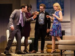 """Raoul Bhaneja, Karen Glave, Michael Rubenfeld, and Birgitte Solem performing in a Toronto production of """"Disgraced"""" in April 2016. With the exception of Rubenfeld, whose role will be performed by Alex Poch-Goldin, the remaining actors are reprising their roles in New Stages Theatre Company's staged reading of the play at Peterborough's Market Hall on May 28. (Photo: Cylla von Tiedemann)"""
