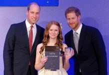 """Peterborough's Faith Dickinson received the Diana Award, presented by from Prince William and Prince Harry, for her """"Cuddles for Cancer"""" charity. (Photo: Kensington Palace)"""
