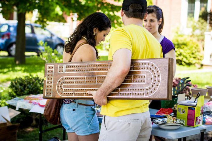 With Gilmour Street residents from Park Street to Monaghan Road participating in the sale, chances are you'll find some unique items like this huge cribbage board. (Photo: Linda McIlwain)