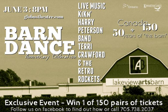 In June, the Lakeview Arts Barn is celebrating its 50th anniversary, and Canada's 150th birthday, with an old-fashioned barn dance. (Graphic: Globus Theatre)
