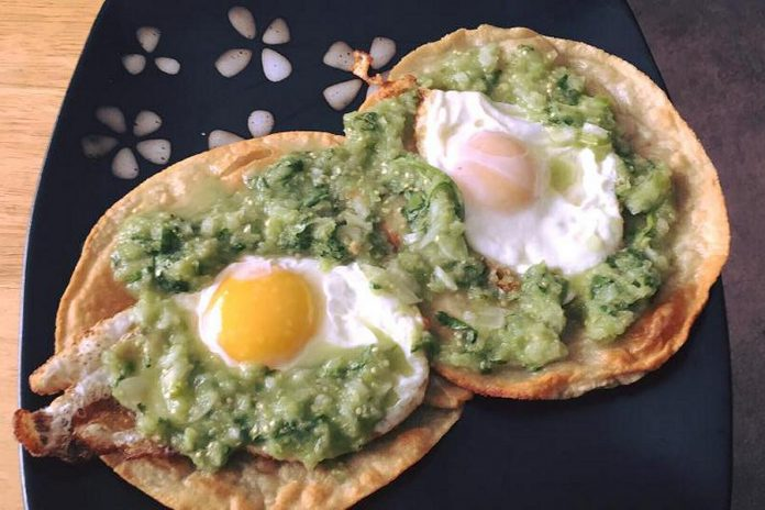 Chef Martin suggests using his tomatillo and avocado salsa on deep-fried tortillas (tostadas) with eggs over easy for a delicious breakfast. (Photo: La Mesita Catering)