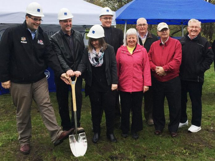 The groundbreaking ceremony of the new 24-unit affordable housing project in Lindsay: Dylan Robichaud (representing Jamie Schmale, MP for Haliburton-Kawartha Lakes-Brock), Mayor Andy Letham, City of Kawartha Lakes Housing Manager Hope Lee, City of Kawartha Lakes CAO Ron Taylor, Director of KLH Housing Corp Board Elizabeth Howell-Jones, Councillor Doug Elmslie, Councillor and Director of KLH Housing Corp Board, and Councillor John Pollard. (Photo: City of Kawartha Lakes)