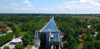 The Kirkfield Lift Lock is one of 15 locks featured in a new drone video from Parks Canada, promoting free seasonal lockage permits as part of the Canada 150 celebrations. Parks Canada celebrated the official opening of the Trent-Severn Waterway at Lockfest in Bobcaygeon on Saturday. (Photo: Parks Canada)