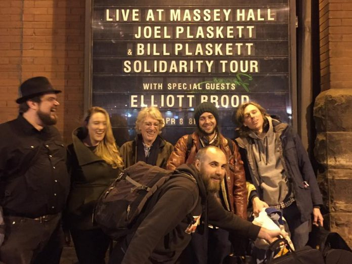 The Plasketts and Mayhemingways in front of Toronto's Massey Hall, where they performed with Elliott Brood on April 8 (photo via Mayhemingways/ Facebook)