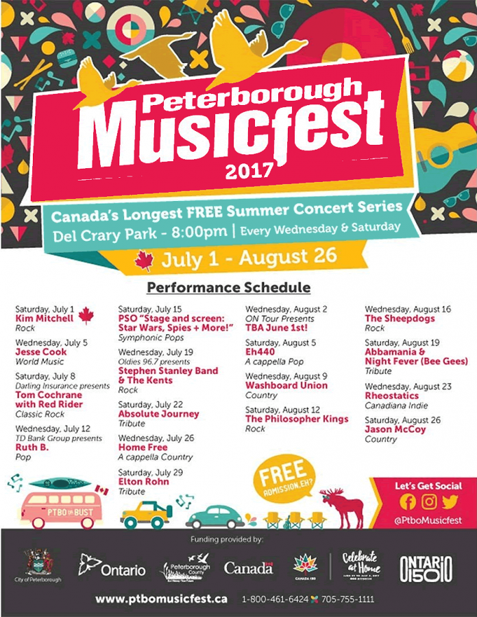 The complete 2017 line-up at Peterborough Musicfest.  The ON Tour act for August 2, part of Ontario 150 celebrations,  will be announced on June 1.