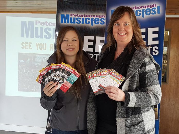 Peterborough Musicfest Marketing & Sales Coordinator Tashonna McDougall and General Manager Tracey Randall at the May 9 announcement of the 21st season of the annual free outdoor music festival at Del Crary Park in Peterborough. (Photo: Jeannine Taylor / kawarthaNOW)