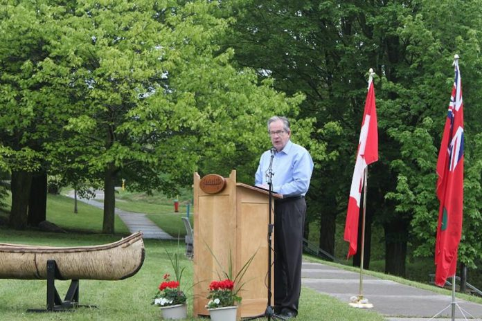 Jeff Leal, MPP Peterborough, at the May 26th announcement of $9 million in provincial funding for the new Canadian Canoe Museum. (Photo: The Canadian Canoe Museum)