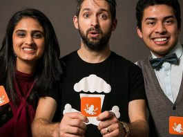 Ribbet co-founders Sana Virji and Ribat Chowdhury posing with entrepreneur Johnny Earle, founder of Johnny Cupcakes, during Earle's 2016 visit to Peterborough. (Photo: Innovation Cluster)