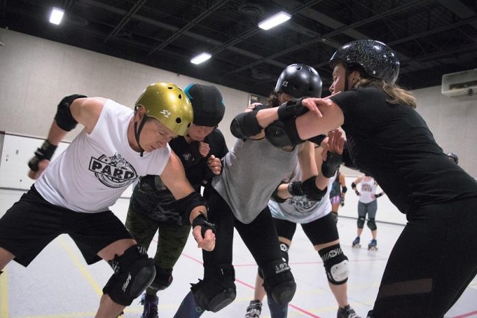 Members of the Peterborough Area Roller Derby (PARD) during a recent practice. PARD's double-header season home opener takes place on May 27th at the Douro arena and will support the Peterborough Humane Society. (Photo: Scott Tromley)
