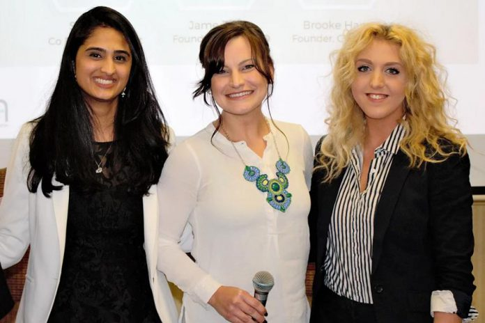 These three top young female entrepreneurs in Peterborough spoke to the sold-out crowd at the May 3rd meeting of the Women's Business Network of Peterborough: Ribbet co-founder Sana Virji, SimbiH2O founder Jane Zima, and Chimp Treats CEO and co-founder  Brooke Hammer. (Photo: Women's Business Network of Peterborough)