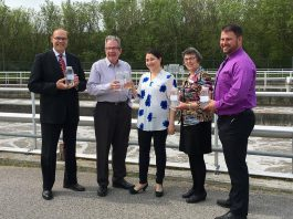 City of Peterborough Mayor Daryl Bennett, Peterborough MPP Jeff Leal, Peterborough-Kawartha MP Maryam Monsef, County of Peterborough Deputy-Warden Mary Smith, and Chief Operator of the Waste Water Treatment Plant Daryl Stevenson at the May 23rd announcement of funding for modifications and improvements to the Peterborough Waste Water Treatment Plant. (Photo: Office of Maryam Monsef)