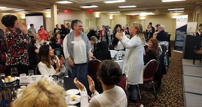 As the May 3rd meeting of Women's Business Network of Peterborough, Thirteen Moons Wellness owner Louise Racine (centre) was voted Member of the Year for the second year in a row. Racine conceived of the idea of a Peterborough's first conference for International Women's Day, which was held on March 8, 2017.  (Photo: Women's Business Network of Peterborough)