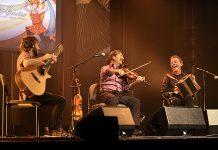 Adam Dobres (guitar), Pierre Schryer (fiddle), and Dermot Byrne (accordian) are the award-winning trio 3TíR, who will be performing foot-stomping traditional music at the Market Hall in Peterborough on July 11. (Photo: Carrefour mondial de l'accordéon)