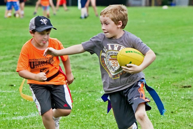 Ultimate Sports Camp, offered in partnership with the Peterborough Rugby Club and the City's Recreation Division, introduces campers to non-contact rugby. (Photo: City of Peterborough Recreation Division)