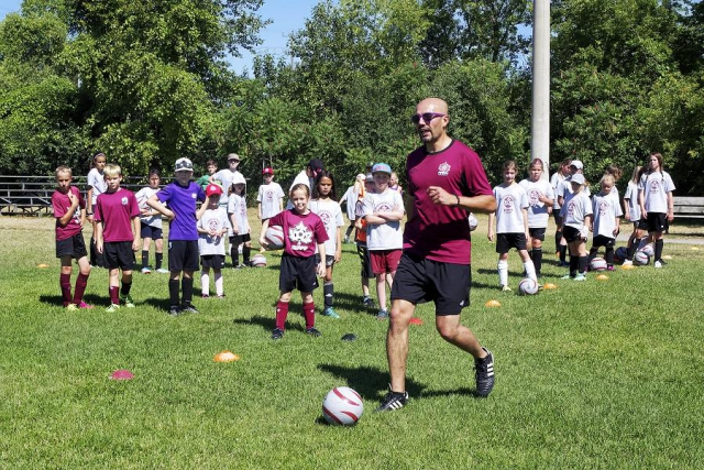 Youth Soccer Camp, with different age and skill categories, focuses on fundamentals such as passing, receiving, dribbling, shooting and goalkeeping. (Photo: City of Peterborough Recreation Division)
