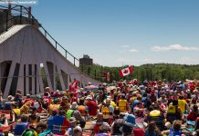 At Lock N' Paddle on June 24, 2017, one of the two chambers of the Peterborough Lift Lock is filled with more than 150 canoes and kayaks in celebration of Canada 150 and National Canoe Day. When both chambers were filled, a record number of 328 paddlecraft were in the Peterborough Lift Lock. (Photo: Linda McIlwain / kawarthaNOW)