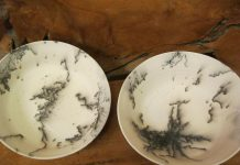 These handmade plates by Lakefield potter Gail West get their unique markings from horsehair. Fired at a whopping 1,000 degrees Fahrenheit, horsehair is then immediately applied, and the resulting carbon burns into the porous clay creating these interesting markings. (Photo courtesy of Gail West)