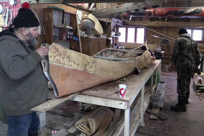 "Using traditional techniques, members of the Miawpukek First Nation from Newfoundland have built a 22-foot birch bark canoe they will present to The Canadian Canoe Museum on National Aboriginal Day (June 21). Described by the Mi'kmaq word ""gwitna'q"", which means ""go by canoe"", the canoe represents the reconciliation of aboriginals with the Canadian government on the 150th anniversary of Confederation. (Photo: Miawpukek First Nation)"