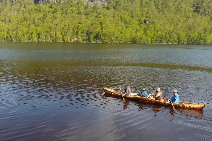 Members Of Miawpukek First Nation Paddling The Canoe Described With Mikmaq Word
