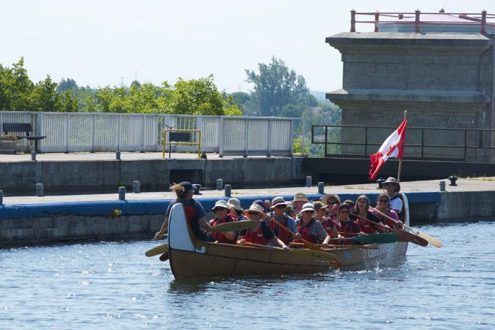 You can paddle beside the birch bark canoe by registering for a free space in the museum's Voyageur Canoe, or you can bring your own canoe or kayak. (Photo: The Canadian Canoe Museum)