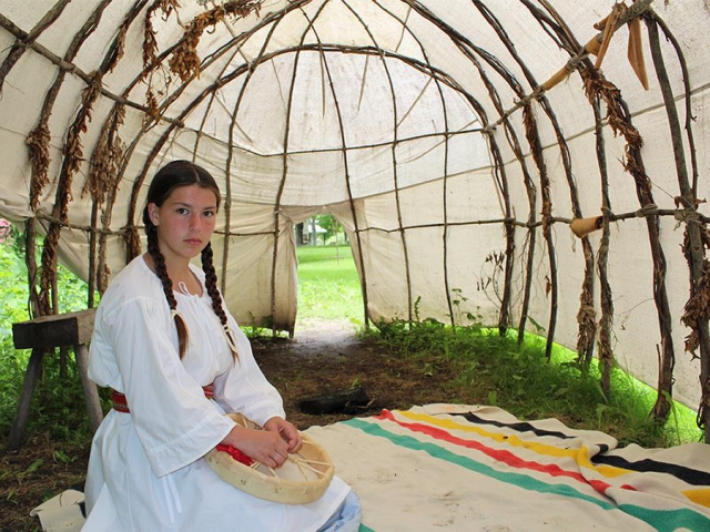 The Aabnaabin site mimics a settlement era encampment, and features a three sisters garden and a medicinal garden. (Photo: Lang Pioneer Village)