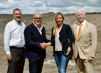 City of Kawartha Lakes Mayor Andy Letham (left) and Councillor Pat O'Reilly (right) at the partnership announcement with Carmine Nigro, President of Craft Development Corporation, and Ashley Mason, Vice President of Mason Homes. (Photo: City of Kawartha Lakes)