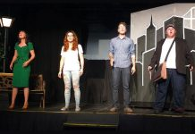 Hannah Bailey as Claire, Keely Wilson as Deb, Carl Christensen as Jason, and Josh Butcher as Warren in the Art for Awareness production of Ordinary Days, running June 8 to 10 at the Gorden Best Theatre in downtown Peterborough. (Photo: Sam Tweedle / kawarthaNOW)