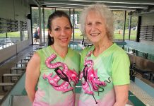 Michelle Thornton and Carol Mutton of Survivors Abreast, pictured here at the Carol Love Rowing/Paddling Tank at Trent University, are co-chairs for the 2017 Peterborough's Dragon Boat Festival. (Photo courtesy of Peterborough's Dragon Boat Festival)