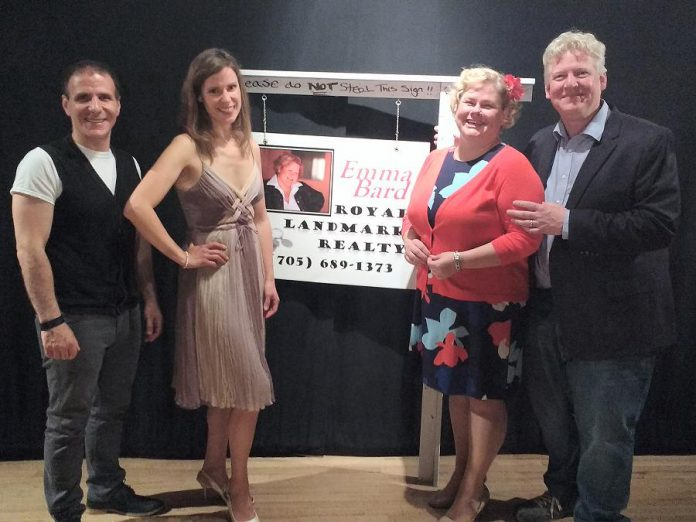 "Sam Rosenthal, Cyndi Carleton, Sarah Quick, and James Barrett at the opening night reception for the Globus Theatre production of ""Real Estate"", which runs until July 8th at the Lakeview Arts Barn in Bobcaygeon. (Photo: Sam Tweedle / kawarthaNOW)"