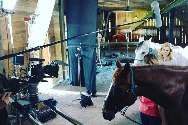 Angel and Kahleesi on the set of the upcoming film The Ranch. They make great movie horses because they are so well trained and safe around people. (Photo: Partridge Horse Hill)