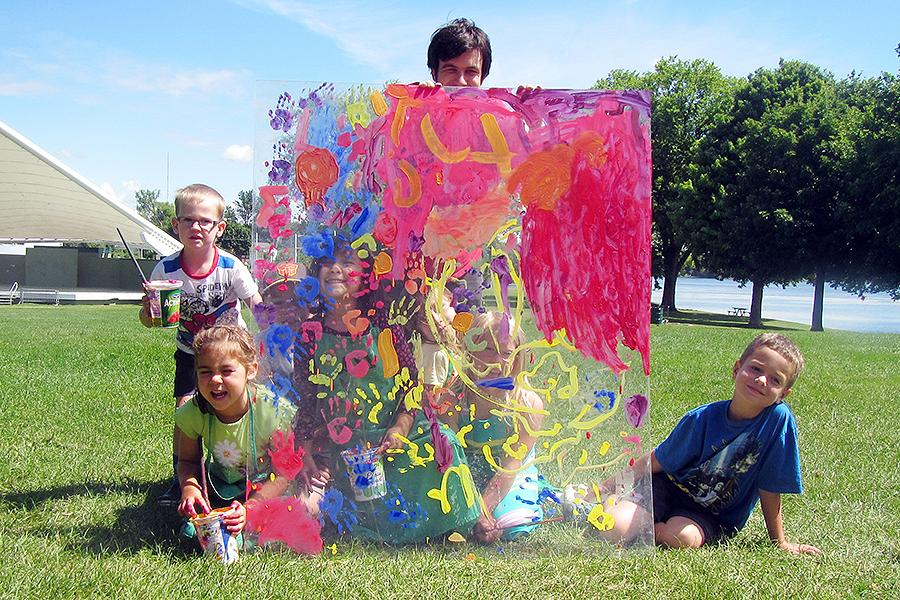 Campers learn to make art outside and on any scale at Art Gallery of Peterborough art camps. Instructors integrate the park and outdoor activities into the programs. (Photo: Art Gallery of Peterborough)