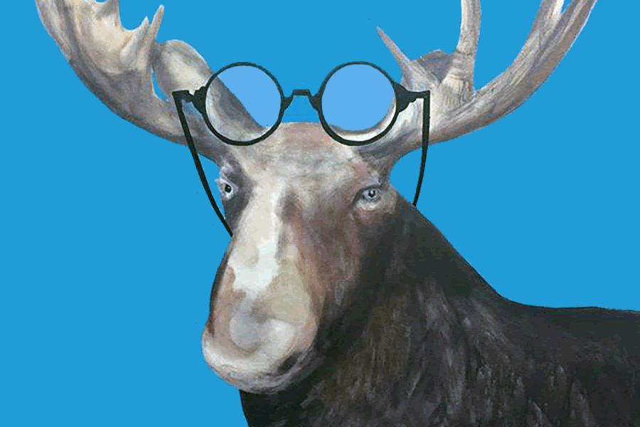 """Canadian artist Charles Pachter's """"Mooseselfie"""" acrylic on canvas. His summer exhibition at the Gallery will be used to inspire young artists in the Oh! Canada art camp. (Photo: Art Gallery of Peterborough)"""