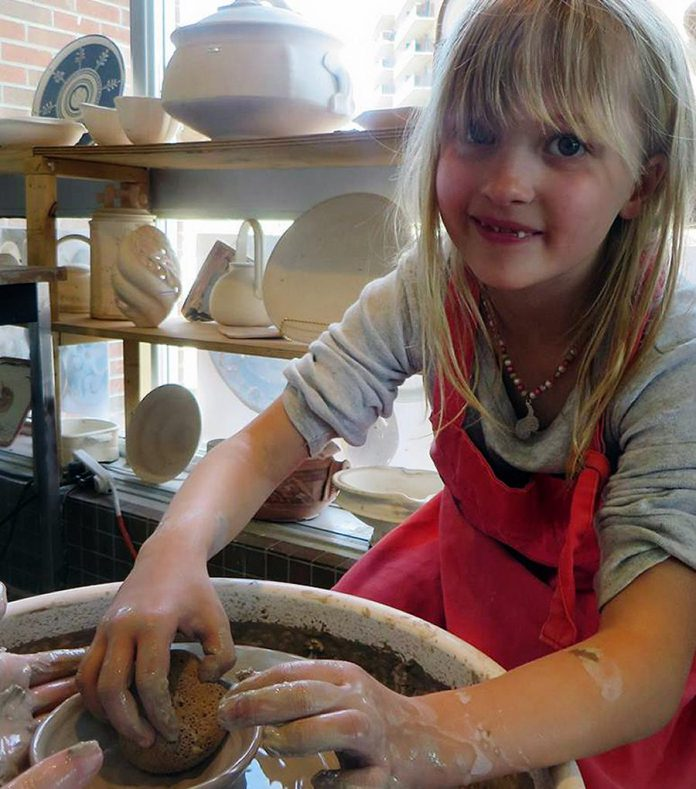 Kids are introduced to the potter's wheel and have a chance to learn basic hand-building techniques like coiling, pinching, building with slabs and sculpting-and what goes into creating wacky and wonderful art projects. (Photo:  Kawartha Potters' Guild)