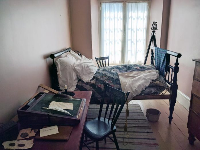 One of the bedrooms is dedicated to Sir Sandford Fleming, a Scottish-born engineer and Dr. Hutchison's younger cousin, who was a resident in the house when he came to Canada in 1845 at 18 years old. (Photo: Paula Kehoe / kawarthaNOW)