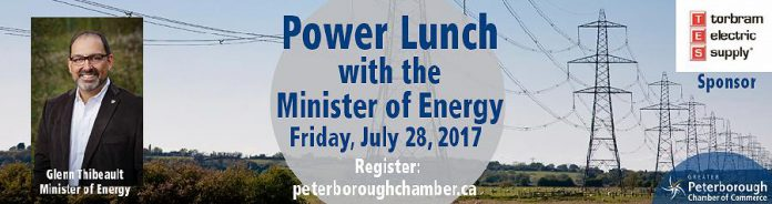Ontario Energy Minister Glenn Thibeault is speaking at the Peterborough Golf and Country Club on July 28.