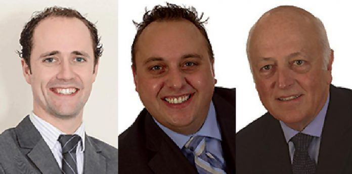 Chris Salmoas, Kyle Brewer, and Curtis Eastmure of Sun Life Financial in Haliburton.