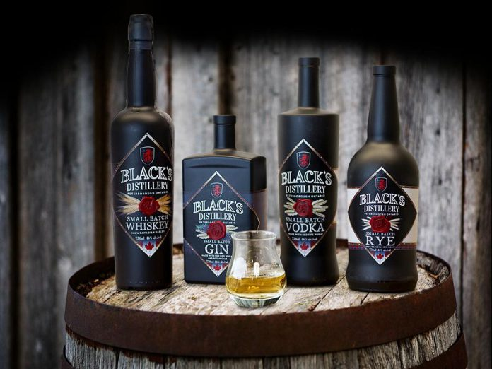 The product line of Black's Distillery, a new distillery opening in Peterborough's East City in fall 2018. (Photo: Black's Distillery)