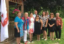 Curve Lake First Nation Chief Phyllis Williams (left) with Minister Carolyn Bennett, MP Maryam Monsef, and members of Curve Lake Council and staff at the funding announcement at Curve Lake First Nation on July 28. (Photo: Office of Maryam Monsef)