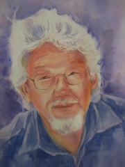 Artist Beverly Sneath chose to pay tribute to Canada with portraits of David Suzuki and Leonard Cohen. (Photo: Gallery on the Lake)