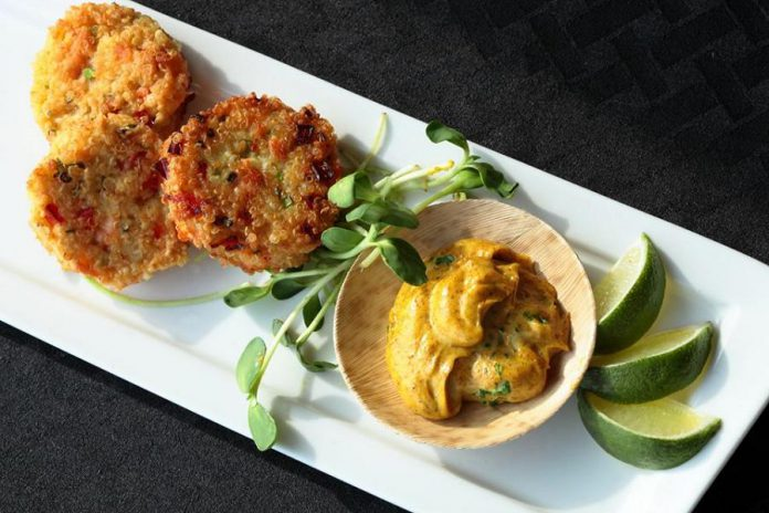 Fresh Urban Plate has an eclectic and ever changing menu. Pictured are the salmon cilantro cakes with lemon dill aioli. (Photo: Fotou)