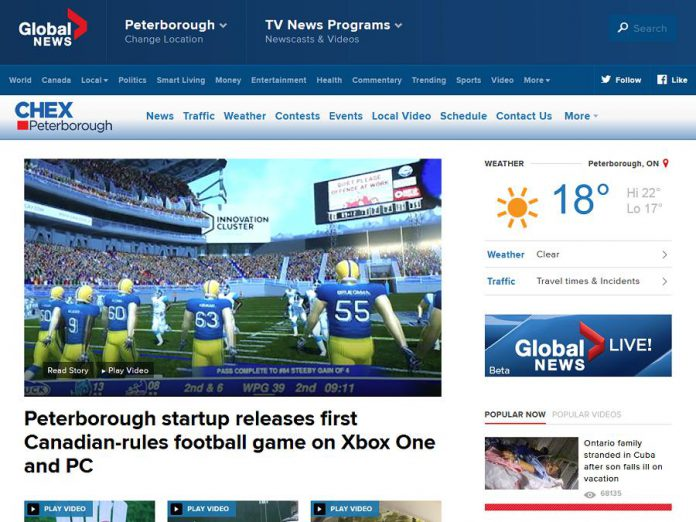 A screen capture of the new CHEX TV website at globalnews.ca on July 26, 2017.