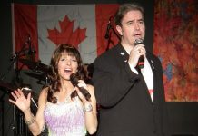 Leisa Way as Celine Dion and Bobby Prochaska as Andrea Bocelli singing The Prayer in Oh, Canada, We Sing For Thee!, running at the Lakeview Arts Barn in Bobcaygeon until July 22. (Photo: Nelson Anselmo)