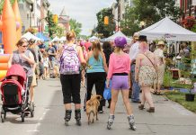 Peterborough Pulse returns to downtown Peterborough for its third year on Saturday, July 15, 2017. The day-long open streets event is its biggest yet, with 3.8 kilometres of streets and trails. Pictured is the inaugural event held in July 2015. (Photo: Linda McIlwain / kawarthaNOW)