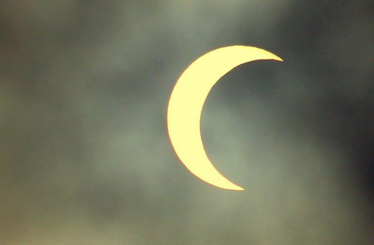 Around 70% of the sun is obscured by the moon in this photo of the May 20, 2012 partial solar eclipse taken in San Juan Capistrano in California. This is similar to how the sun will appear in the Kawarthas -- if viewed using protective eyewear -- during the solar eclipse on August 21, 2017, although the moon will be obscuring the sun from below. (Photo: Wikimedia)