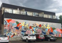 "Chrissy Poitras' mockup of her mural ""Floral Abstraction"", chosen to be painted on the wall at 378 Aylmer Street in downtown Peterborough. (Photo: Chrissy Poitras)"