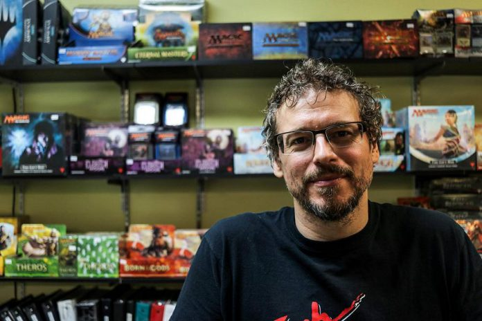 Wayne Mittlestead, owner of Dueling Grounds, a gaming business that opened in July at 304 George Street in downtown Peterborough.