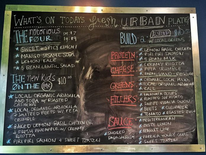 A sample menu at Fresh Urban Plate. (Photo: Fresh Urban Plate)